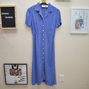 Vintage Rayon Button Front  Polka Dot Dress